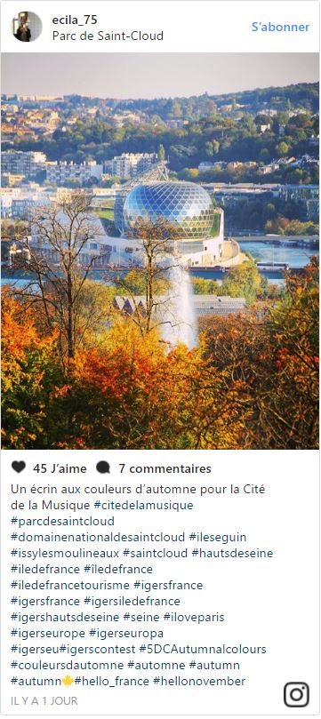 Domaine national de Saint-Cloud (c) @ecila75 - Instagram